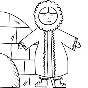 Eskimo Girl Take A Picture In Front Of Her House Coloring Pages
