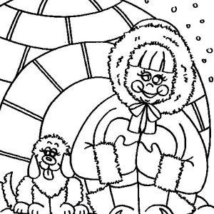 Eskimo Girl And Her Dog Sweet Smile Coloring Pages