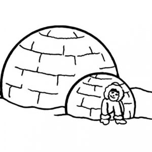 Eskimo Girl And Igloo Coloring Pages