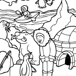 Eskimo In Alaska   Black And White Coloring Page