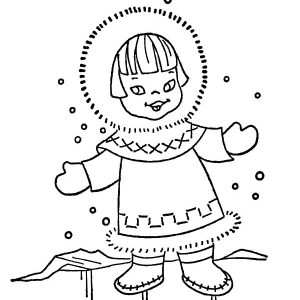 Eskimo Girl In Snowy Weather Coloring Pages
