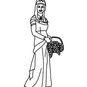 Esther Holding A Bucket Of Grapes Coloring Pages