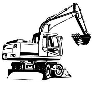 Excavator Outline Coloring Page