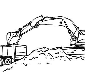 Excavator Loading Work Coloring Pages