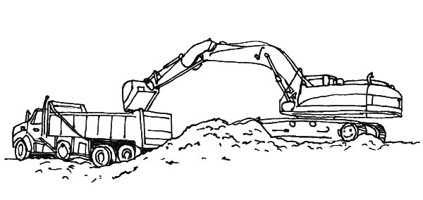 Excavator Loading Work Coloring Pages Download Print Online