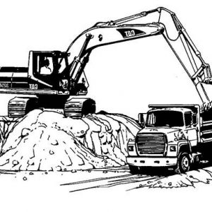 Excavator Loading To Truck Coloring Pages