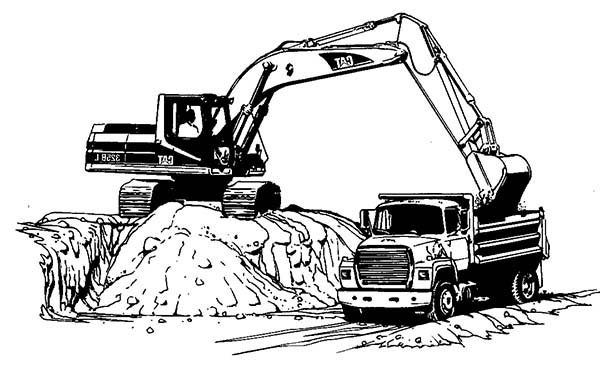 Excavator Loading To Truck Coloring Pages - Download ...