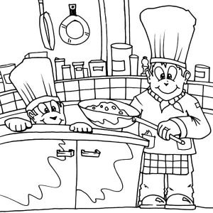 Famous Chef Kitchen Coloring Pages