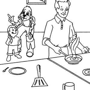 Father Cooking Omelette In Kitchen Coloring Pages