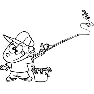 Fishing Boy With A Bucket Of Worms Holding Fishing Pole Coloring Pages
