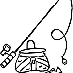 Fishing Pole And A Bucket Of Fish Coloring Pages