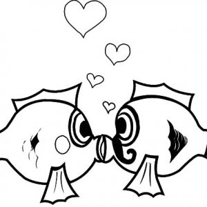 Forever Love Kissing Fish Coloring Pages