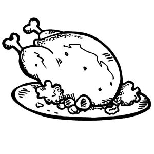 Fried Chicken And Roasted Potato Coloring Pages