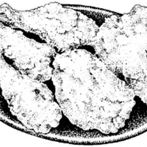 Fried Chicken On Plate Coloring Pages