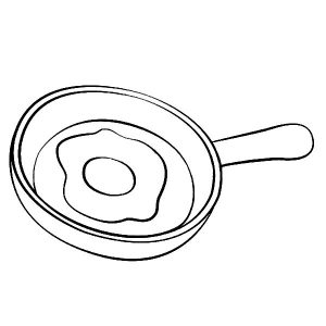 Fried Egg On Frying Pan Coloring Pages