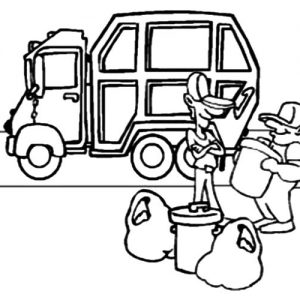Garbage Man Collecting Garbage To Truck Coloring Pages