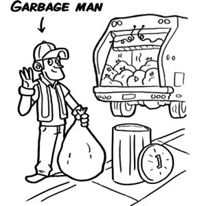 Garbage Man And Garbage Truck Coloring Pages