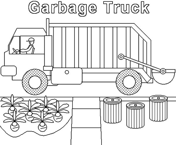 Garbage Truck Collecting Home Waste Coloring Pages Download