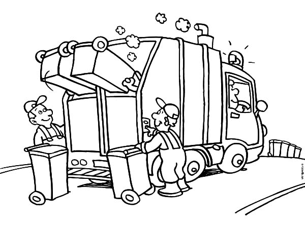 Garbage Truck, : Garbage Truck Daily Activity Coloring Pages