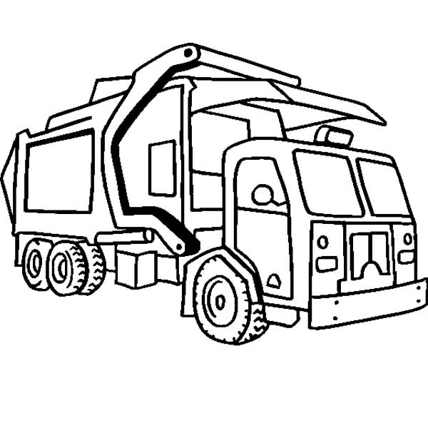 Garbage Truck, : Garbage Truck Outline Coloring Pages