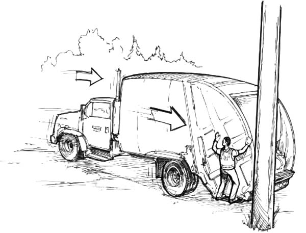Garbage Truck And Man Coloring Pages