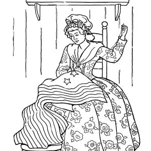 Girl Making National Flag Of Flag Day Coloring Pages