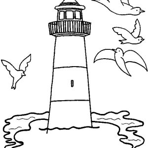 Gulls  Fly Around The Lighthouse Coloring Pages