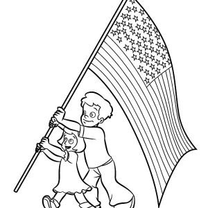 Happy Brother And Sister On Flag Day Coloring Pages