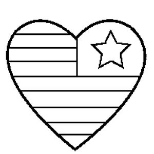 Heart Flag Day Coloring Pages