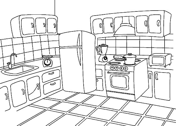 kitchen coloring pages How To Draw Kitchen Coloring Pages   Download & Print Online  kitchen coloring pages