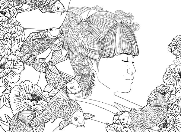 Japanese Girl And Koi Fish Painting Coloring Pages