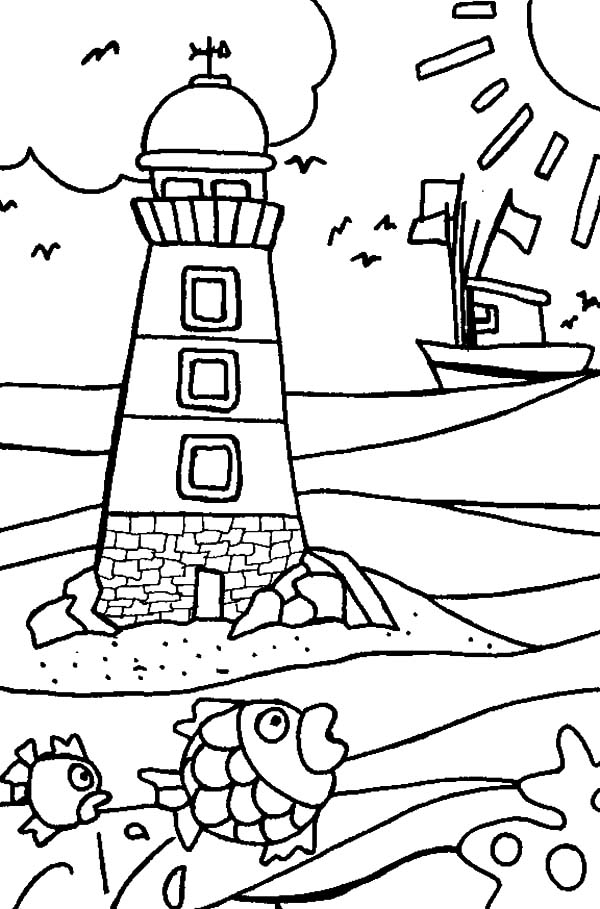 Kidergarten Kids Drawing Lighthouse Coloring Pages - Download ...
