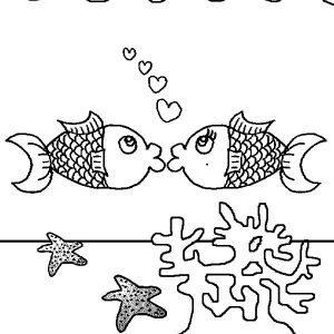 Kissing Fish Above Coral Reef Coloring Pages