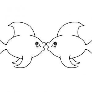Kissing Fish Coloring Pages For Kids