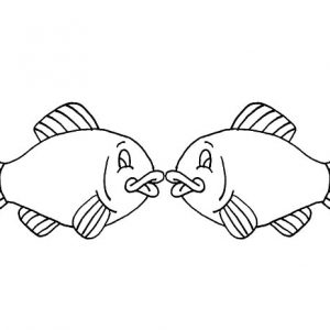 Kissing Fish Picture Coloring Pages