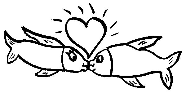 fishes kissing coloring pages - photo#21