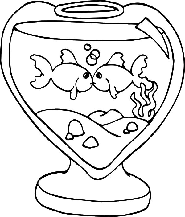 fishes kissing coloring pages - photo#11