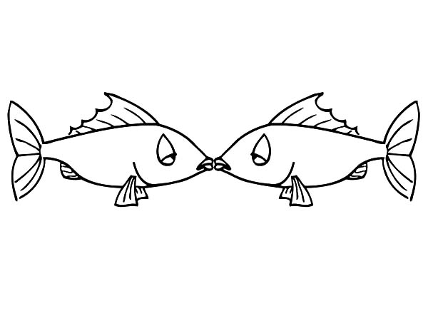 Kissing Fish Is Sleepy Coloring Pages PagesFull