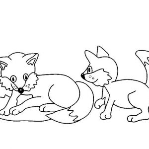 Kit Fox Playing With Brother Coloring Pages