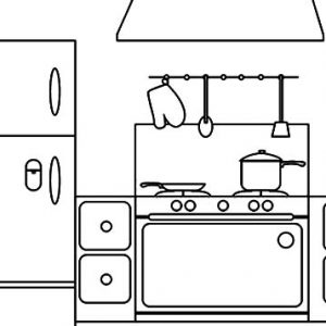 Coloring Page Parts Of A House Kitchen