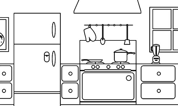 kitchen coloring pages Coloring Page Parts Of A House Kitchen   Download & Print Online  kitchen coloring pages