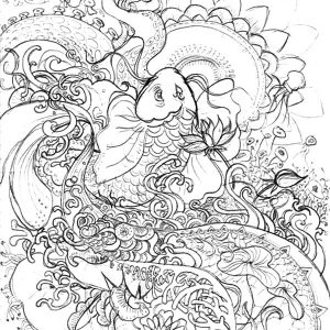 Koi Fish Pencil Sketch Coloring Pages