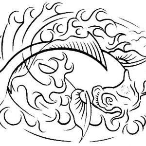 Koi Fish On Fire Coloring Pages