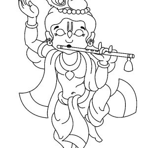 Krishna Dancing With Playing Flute Coloring Pages