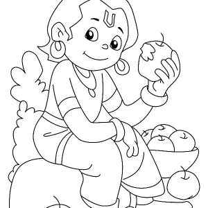 Krishna Eating Apple Coloring Pages