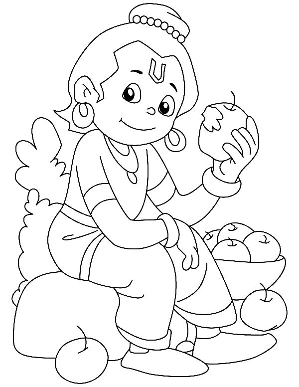 Krishna Eating Apple Coloring Pages Download Amp Print