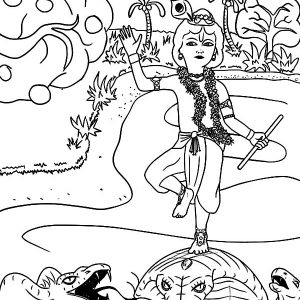 Krishna Facing Kaliya The Poisonous Naga From Yamuna River Coloring Pages