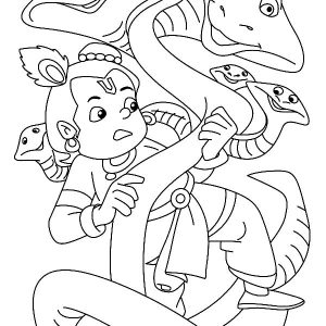 Krishna Fighting Snake With May Head Coloring Pages