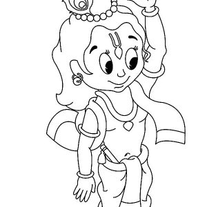 Krishna Hanging On Tree Root Coloring Pages