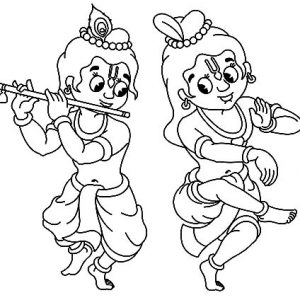 Krishna Having Good Time With Balarama Coloring Pages